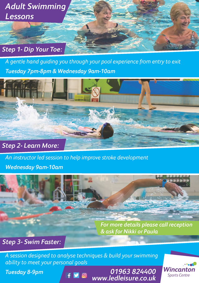Wincanton Sports Centre adults swimming lessons poster