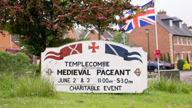 The Templecombe Medieval Pageant sign board ast the south end of the village
