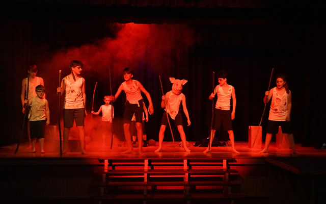 A scene from Lord of the Flies, performed by Wincanton Youth Theatre as part of their Spring 2018 show, A Spirit of Youth