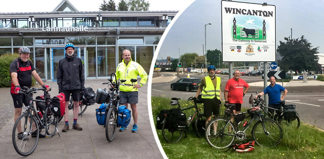 The Lahnau twinning cyclists before they set off, and when they arrived.