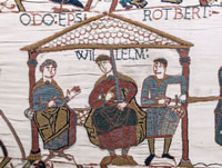 Rotbert of Mortain, on the right, from the Bayeux Tapestry