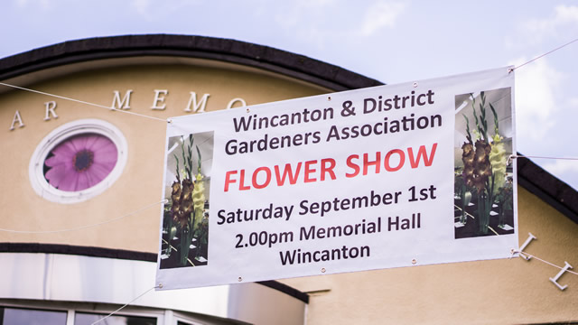 Wincanton & District Gardeners Association Flower Show banner outside Wincanton Memorial Hall