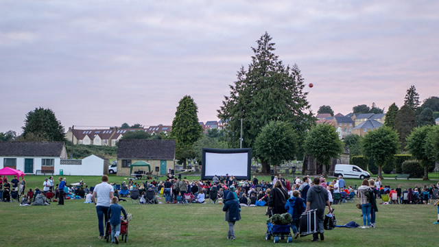 The growing crowd at Wincanton's first outdoor cinema