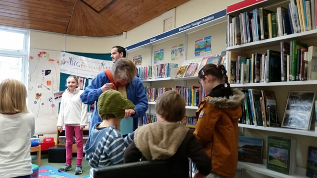 Children taking part in a craft event at Wincanton Library during a school holiday