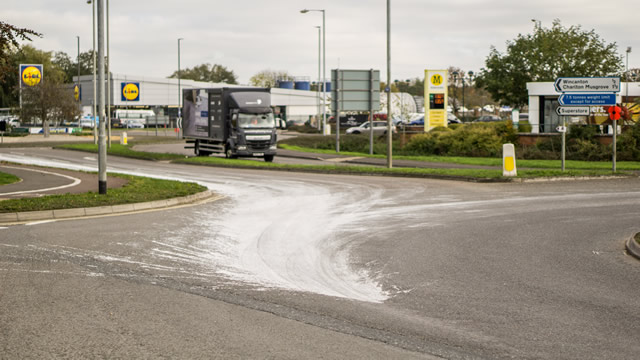 White emulsion paint spillage on the A303 roundabout in Wincanton