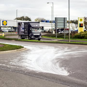 Travis Perkins paints the town white - then cleans it up