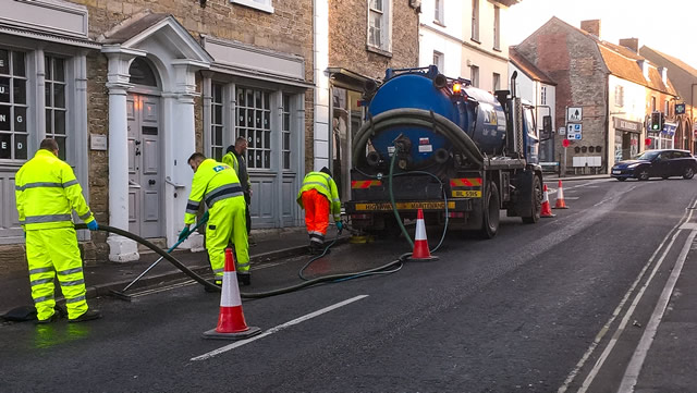 The clean-up crew working their way up Wincanton High Street