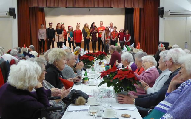 Wincanton's 2018 over-70s Christmas lunch at the Memorial Hall