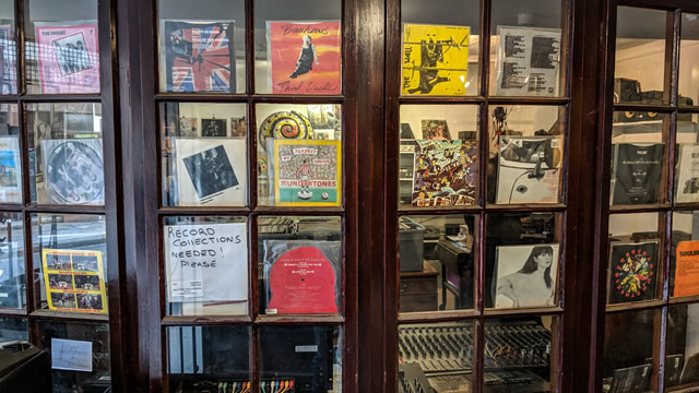 The interior window display at Highstreet Records, Wincanton