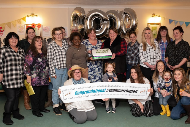 Staff at Carrington House celebrate being awarded a 'Good' rating by the CQC