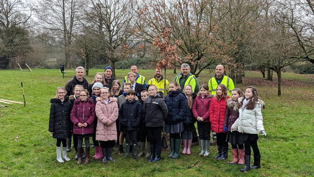 Pupils from all three of Wincanton's schools who helped plant new trees at the Cale Park recreation ground