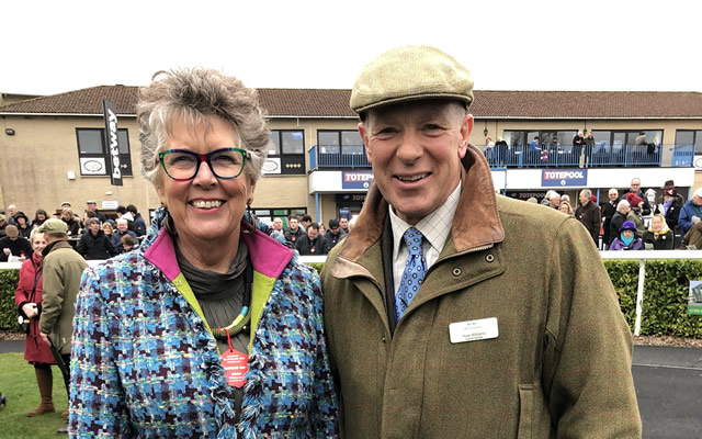 The Great British Bake-Off's Prue Leith with Wincanton Racecourse General Manager Huw Wiliams