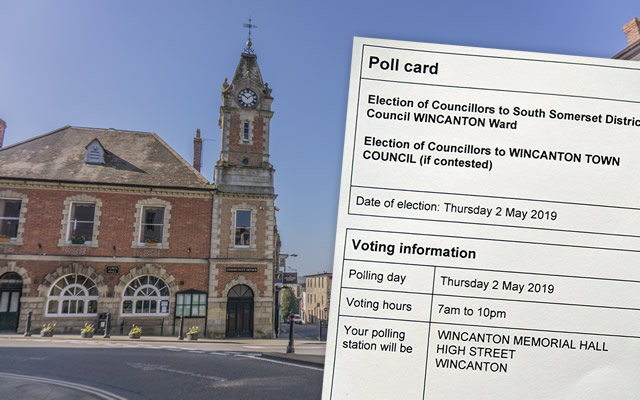Wincanton Town Hall, and a 2019 local elections polling card
