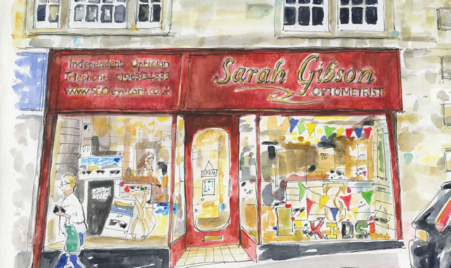 A hand-drawn illustration of Sarah Gibson Optometrist shop front