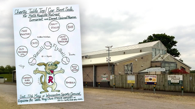 Recall Flyball Club's boot and table-top sale poster, at Wincanton Sports Ground