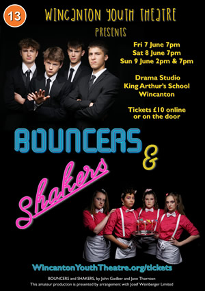 Wincanton Youth Theatre presents Bouncers & Shakers poster (Photos by Trixie at Studio H)