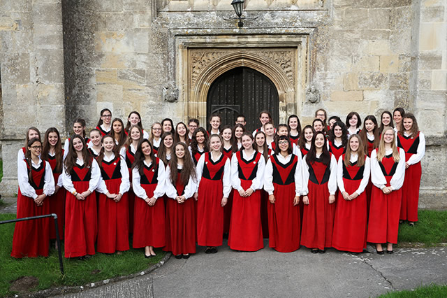 The Aurin Girls' Choir outside St Mary's Church in Bruton. Photo by Mark Pickthall