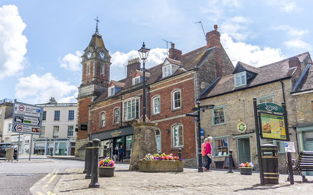 Wincanton Market Place, looking east towards the clock tower