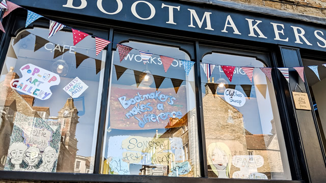 The Bootmakers Workshop shop front dedicated to the Wincanton Seed Market launch