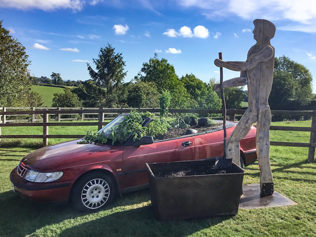 Man grows food in car - an exhibition by Matthew Franklin