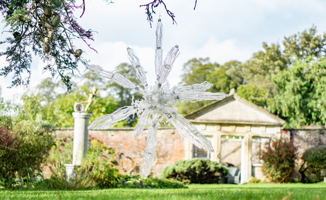 A plastic bottle sculpture in the garden behind the Greening the Earth gallery in Wincanton