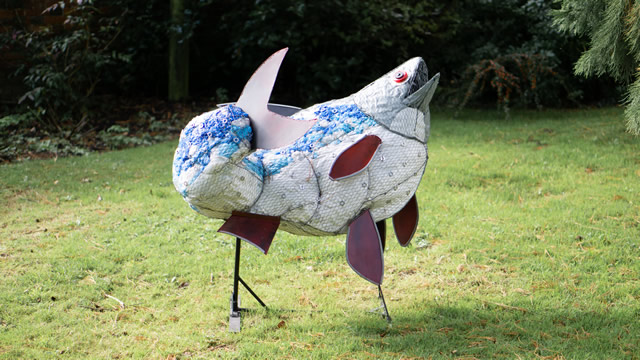 The plastic bag fish sculpture in the garden of the Greening the Earth gallery in Wincanton