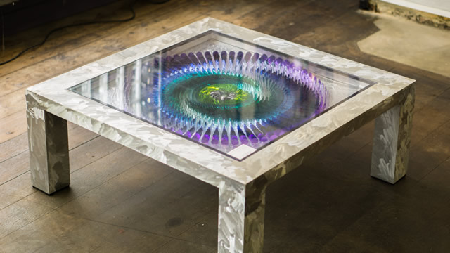 The colour wheel coffee table in the Greening the Earth gallery, Wincanton