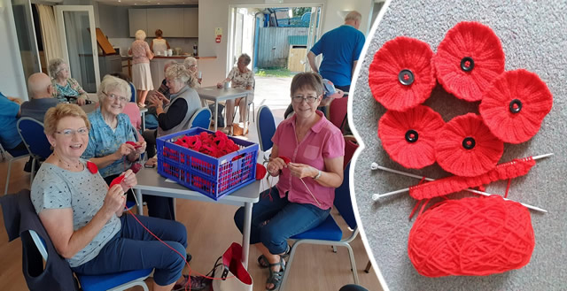 Parish Church ladies knitting poppies