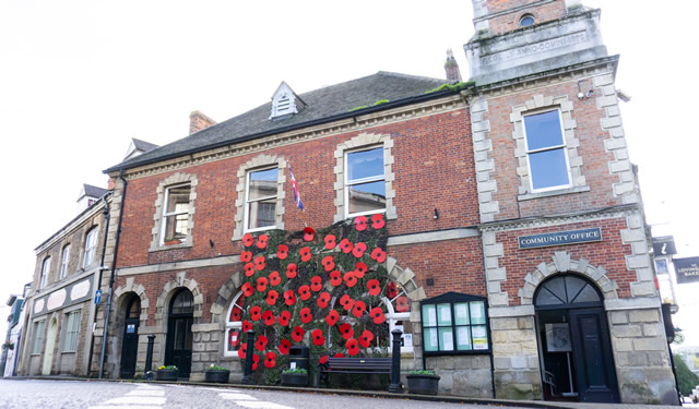 The 2019 Remembrance poppy display outside Wincanton Town Hall