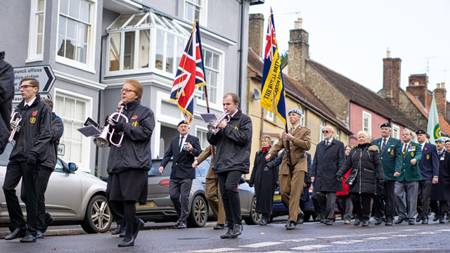 Royal British Legion Standard and the Union Jack carried by members of 1 Regiment Army Air Corp in the Wincanton 2019 Remembrance Parade