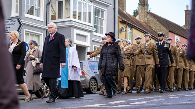Town and district councillors, and 1 Regiment Army Air Corp marching in Wincanton's 2019 Remembrance Parade