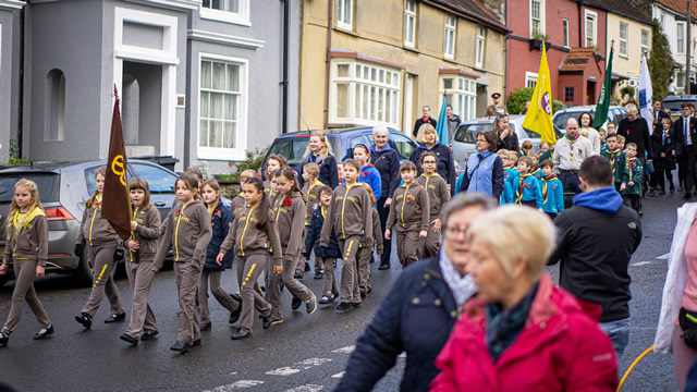 Wincanton Brownies marching in the 2019 Remembrance Parade