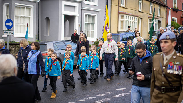 Wincanton Beavers and Scouts marching in the 2019 Remembrance Parade