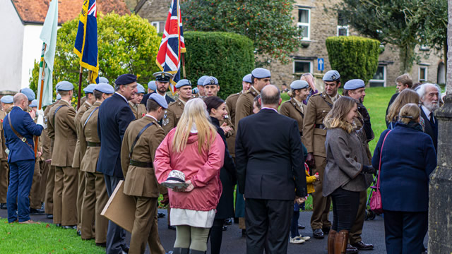 Wincanton's 2019 Remembrance Parade entering the Parish Church of St. Peter & St. Paul