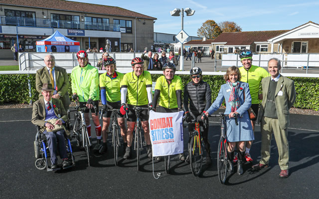Fundraising cyclists at the Combat Stress day 2019 at Wincanton Racecourse