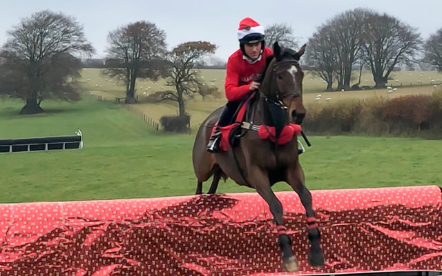 A festive racing jumper wearing a festive racing jumper.