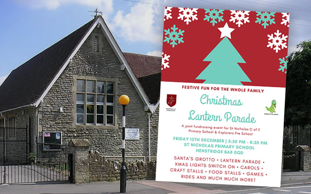 Christmas fair lantern parade poster in front of St Nicholas Church of England Primary School, Henstridge