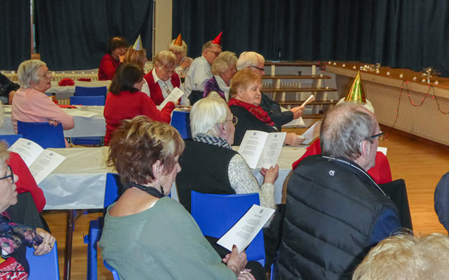 Carol singing at the Wincanton Over-70s Christmas Lunch 2019