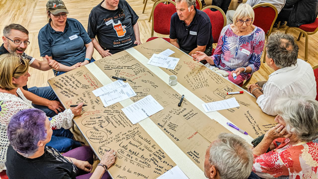 A discussion table at the first Wincanton for the Future public meeting in the Memorial Hall in July 2019