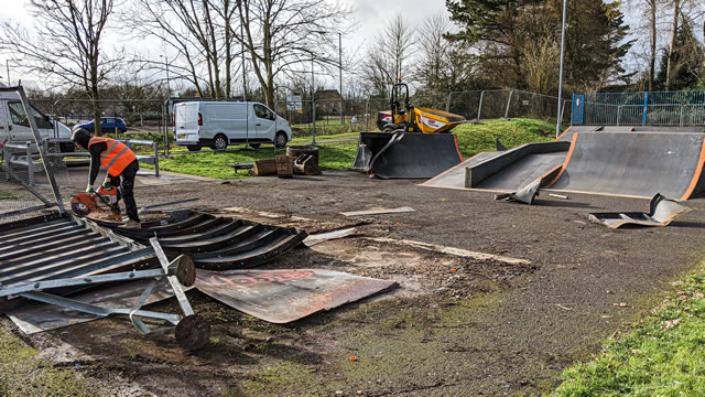 Wincanton's skatepark being demolished in preparation for the new one!