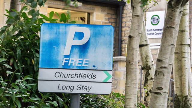 The free parking sign at Wincanton's Churchfields car park, outside the SSDC offices building