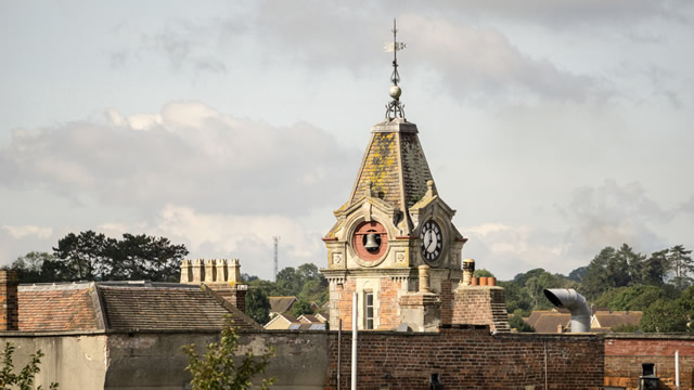 Wincanton's Town Hall clock tower from an unusual angle