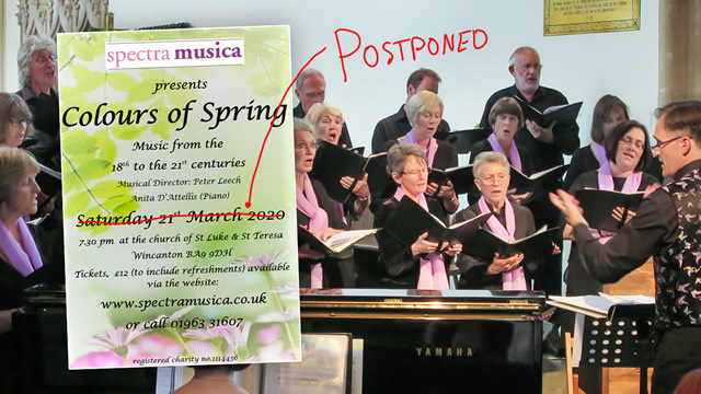 Spectra Musica's spring 2020 concert poster over the choir performing