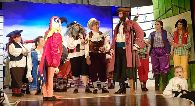 Wincanton Amateur Dramatic Society performing Treasure Island on stage in Wincanton Memorial Hall