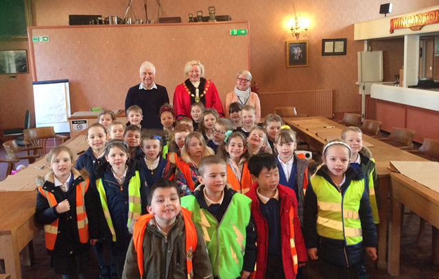 Wincanton Primary School pupils visit the Town Hall, February 2020