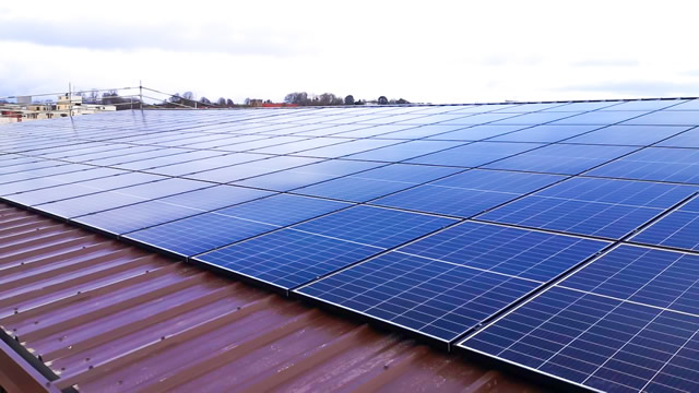 Wyke Farms solar array on the roof of a new building on Bennetts Field Trading Estate