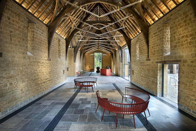 The interior of The Entrance Barn at The Newt in Somerset: a wholly new build structure to greet visitors upon arrival