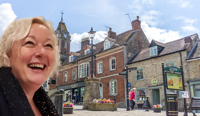 Mayor of Wincanton, Councillor Shelbourn-Barrow, superimposed on a photo of Market Place