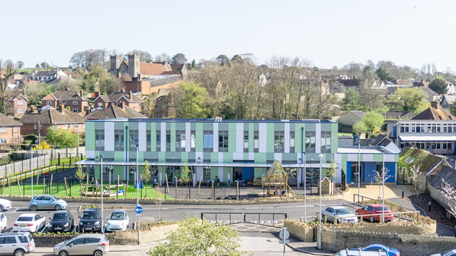 Wincanton Primary School's new building, viewed from the roof of the old Cow & Gate factory opposite.