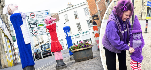 Wincanton Town Councillor Vicky Vagg and a few of her knitted creations at Market Place
